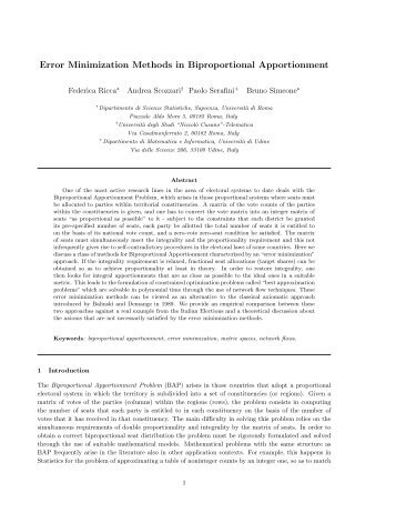 Error Minimization Methods in Biproportional Apportionment