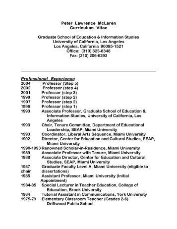 peter lawrence mclaren curriculum vitae graduate school of ucla