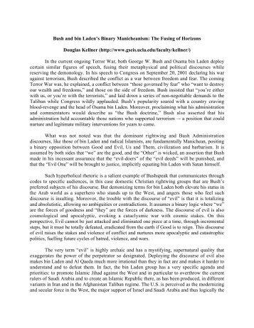 Bush and bin Laden's Binary Manicheanism: The Fusing of ... - UCLA