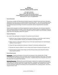 LIS 275 - UCLA Department of Information Studies