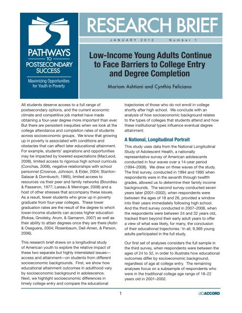 Low-Income Young Adults Continue to Face Barriers to College ...