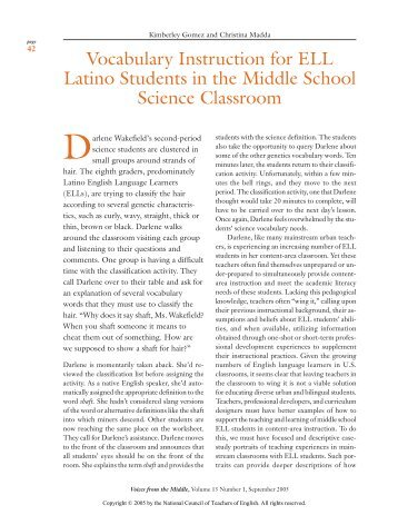Vocabulary Instruction for ELL Latino Students in the ... - Ampersand
