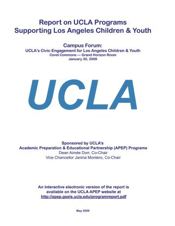 Report on UCLA Programs Supporting Los Angeles ... - UCLA APEP