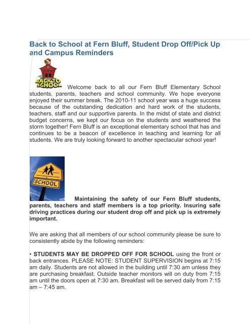 School At Fern Bluff Student Drop Off Pick Up And Campus Reminders