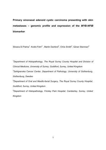 Primary sinonasal adenoid cystic carcinoma ... - WebMicroscope