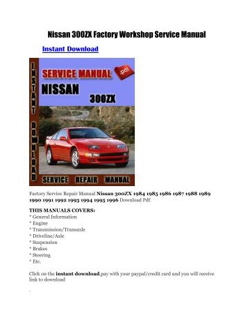 nissan factory service manual spooled up racing rh yumpu com GPX 250 Factory Service Manual 1991 nissan 300zx factory service manual