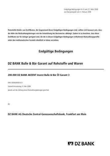 Endgültige Bedingungen DZ BANK Bulle & Bär Garant auf ... - Vwd