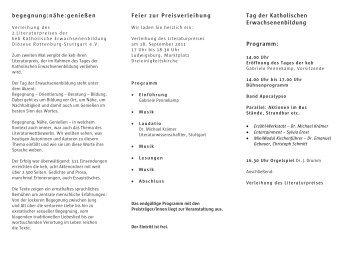 begegnung:nähe:genießen - KEB Katholische Erwachsenenbildung ...