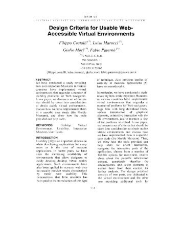 Design Criteria for Usable Web- ~ccessible Virtual Environments