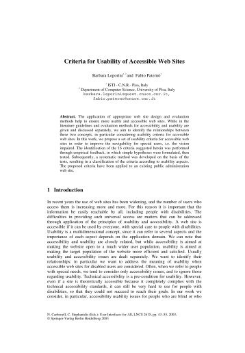 Criteria for Usability of Accessible Web Sites - CiteSeerX