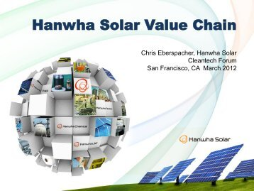 Hanwha Solar Value Chain - Upcoming Forums and Events