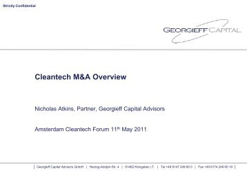 Cleantech M&A Overview - Upcoming Forums and Events ...