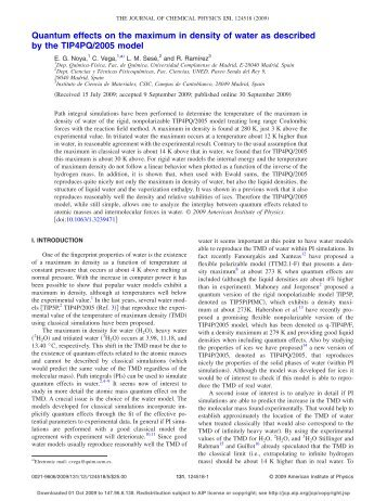 Quantum effects on the maximum in density of water as described by ...