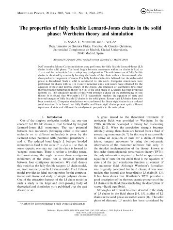 The properties of fully flexible Lennard-Jones chains in the solid ...