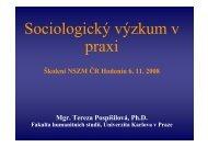 T. Pospíšilová: Sociologický výzkum v praxi