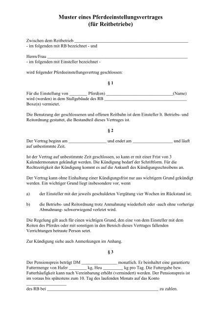 Muster Eines Pferdeeinstellungsvertrages Für Reitbetriebe