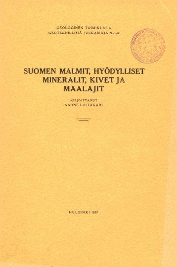 suomen malmit, hyodylliset mineralit, kivet ja maala jit - arkisto.gsf.fi