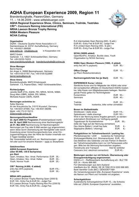 AQHA European Experience 2009, Region 11 - Wittelsbuerger