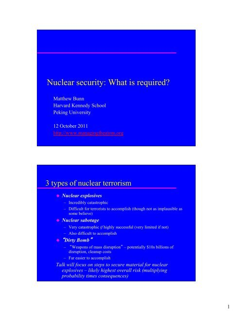 Nuclear Weapons and Nuclear Power in East Asia - Belfer Center ...