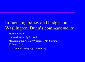 Influencing Policy and Budgets in Washington D.C. - Belfer Center ...