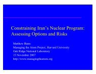 Constraining Iran's Nuclear Program - Belfer Center for Science and ...