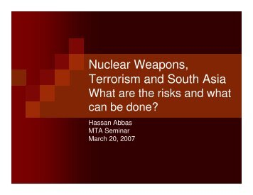 Nuclear Weapons, Terrorism and South Asia - Belfer Center for ...