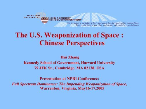The US Weaponization of Space - Belfer Center for Science and ...