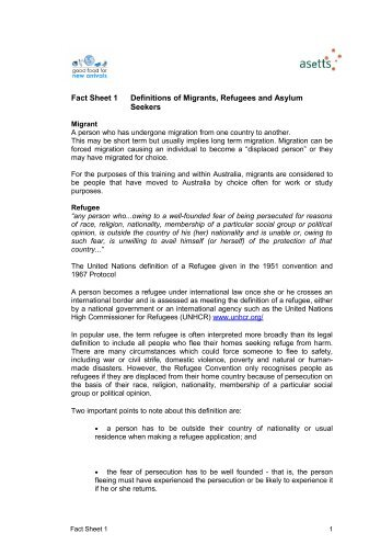 Fact Sheet 1 Definitions of Migrants, Refugees and Asylum Seekers
