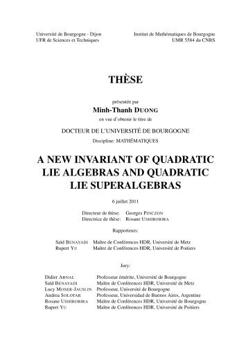 TH`ESE A NEW INVARIANT OF QUADRATIC LIE ALGEBRAS AND ...