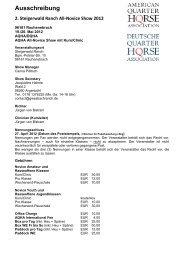 Ausschreibung 2. Steigerwald Ranch All-Novice Show 2012