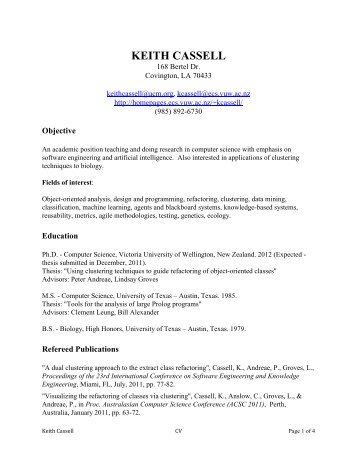keith cassell - School of Engineering and Computer Science Wiki ...