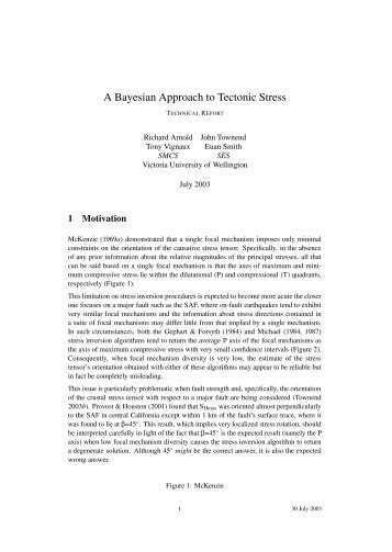 A Bayesian Approach to Tectonic Stress - School of Engineering ...