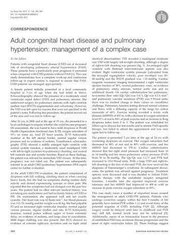 Adult congenital heart disease and pulmonary hypertension ...