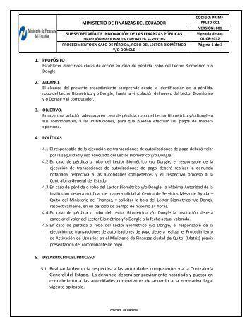 MINISTERIO DE FINANZAS DEL ECUADOR 5.1. Realizar ... - eSIGEF