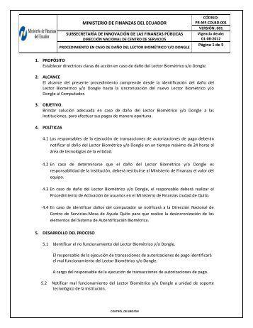MINISTERIO DE FINANZAS DEL ECUADOR - eSIGEF
