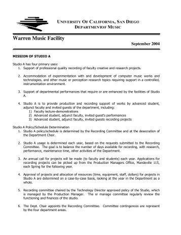 Warren Music Facility - Intranet