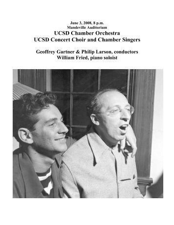 UCSD Chamber Orchestra UCSD Concert Choir and ... - Intranet