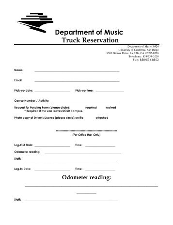 Truck Reservation - UCSD Department of Music Intranet