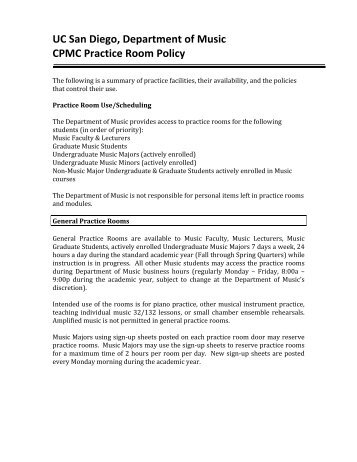 Practice room Policy 2009 - UCSD Department of Music Intranet ...