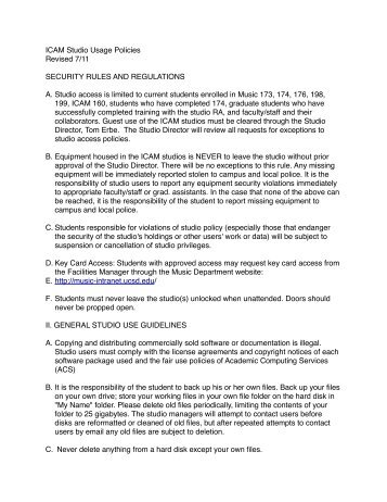 ICAM Studio Policy - UCSD Department of Music Intranet