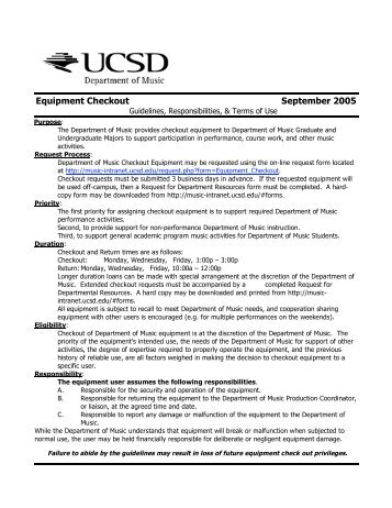 Equipment Checkout September 2005 - UCSD Department of Music ...