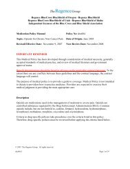 Regence BlueCross BlueShield of Oregon · Regence BlueShield ...