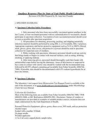 Smallpox - Utah Department of Health - Utah.gov