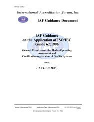 IAF Guidance Document IAF Guidance on the Application of ISO/IEC ...