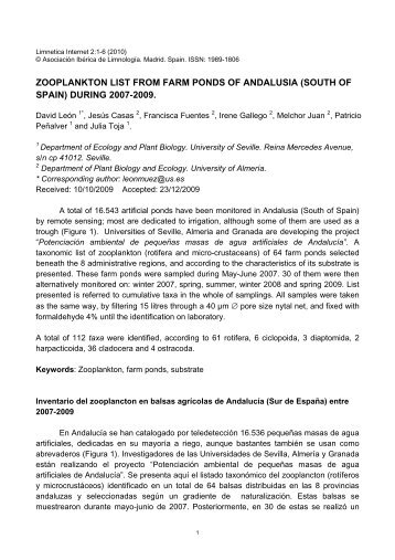ooplankton List from farm ponds of Andalusia, south Spain - Limnetica