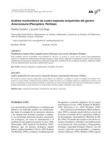 Analisis morfometrico de cuatro especies simpatridas ... - Limnetica