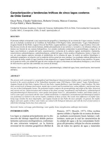 Caracterización y tendencias tróficas de cinco lagos ... - Limnetica