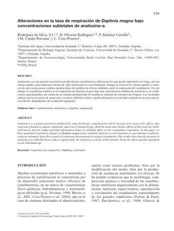 Alteraciones en la tasa de respiración de Daphnia ... - Limnetica