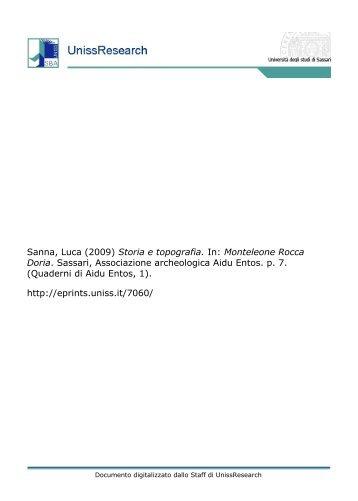 Sanna, Luca (2009) Storia e topografia. In ... - UnissResearch