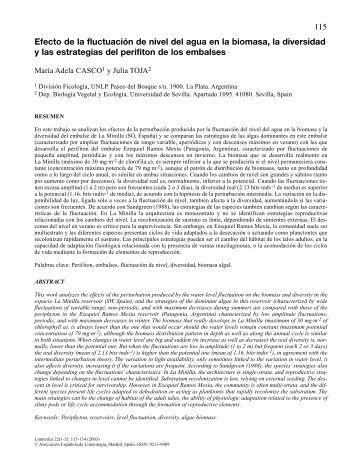 Efecto de la fluctuacion de nivel del agua en la biomasa ... - Limnetica